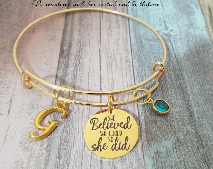 Graduation Gift for Girl, Initial Charm Bracelet, Birthstone Jewelry, Woman Graduate, Gift for Her, Personalized Gift, Custom Jewelry