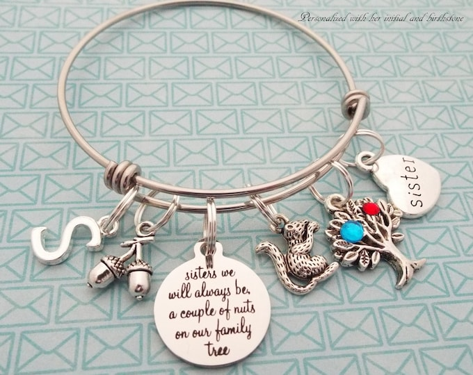 Sister Gift Charm Bracelet, Sister Birthday, Personalized Gift, Gift for Her, Woman's Birthday, Silver Bracelet, Custom Jewelry, Girl Gift