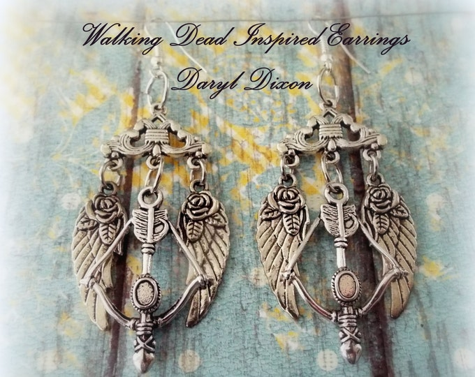 Walking Dead Earrings, Walking Dead Jewelry, Gift Ideas for the Walking Dead Fan, Daryl Dixon Earrings, Daryl Dixon Jewelry, Gifts for Her