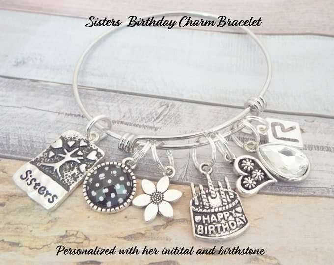Birthday Gift for Sister, Sisters Charm Bracelet, Sister Birthday Gift, Personalize Gift, Gift for Her, Custom Jewelry, Sister to Sister