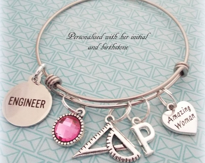 Engineer Bracelet, Engineer Graduation Gift, Personalized Gift, Gift for Her, Custom Jewelry, Woman's Jewelry, College Graduation