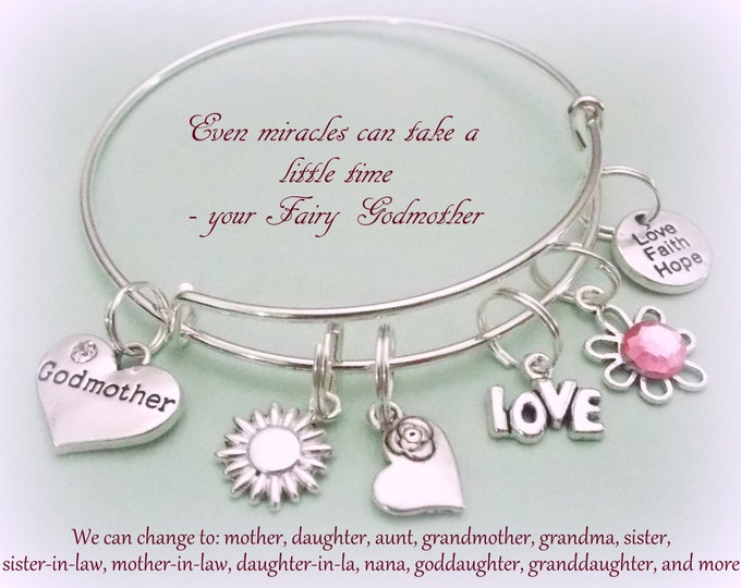 Personalized Godmother Gift, Charm Bracelet, Gift for Her, Personalized Jewelry, Goddaughter to Godmother Gift, Godmother Mother's Day