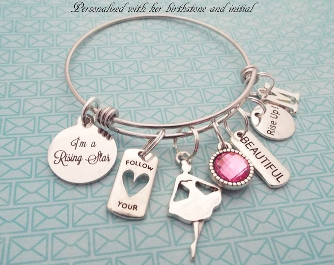Girl Gift Charm Bracelet, Rising Star Charm Bracelet, Personalized Gift, Custom Jewelry, Birthday Girl, Daughter Gift, Niece, Granddaughter
