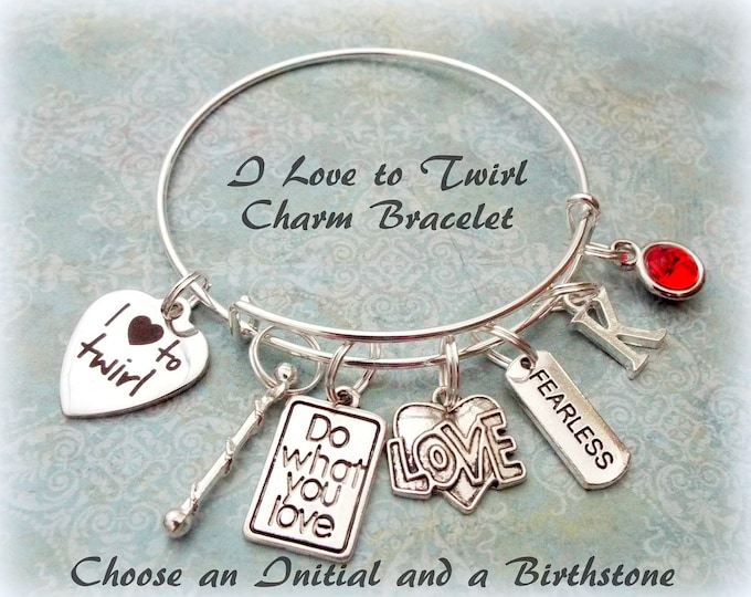 14th Birthday Gift for Daughter and Granddaughter, Gift for Niece, Personalized Baton Twirler Charm Bracelet, I Love to Twirl, Birthstone