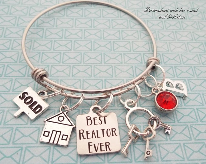 Realtor Gift, Realtor Charm Bracelet, Realtor Graduation, Gift for Realtor, Personalized Jewelry, Handmade Jewelry, Gift for Her, Custom