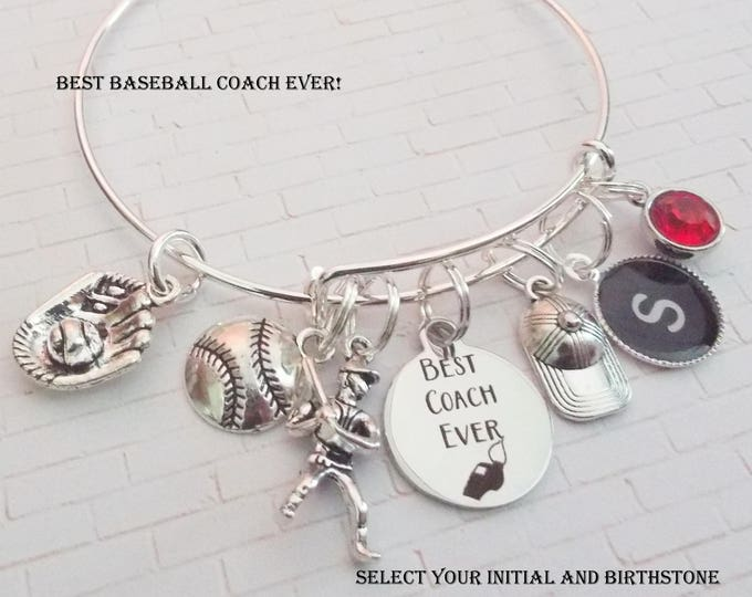 Gift for Softball Coach, Softball Coach Charm Bracelets, Thank You Gift for Coaches, Custom Sports Jewelry, Personalized Jewelry for Coach