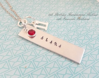 11th Birthday Gift For Girls Name Necklace 11 Year Old Girl Personalized Birthstone Hand Stamped Jewelry Her