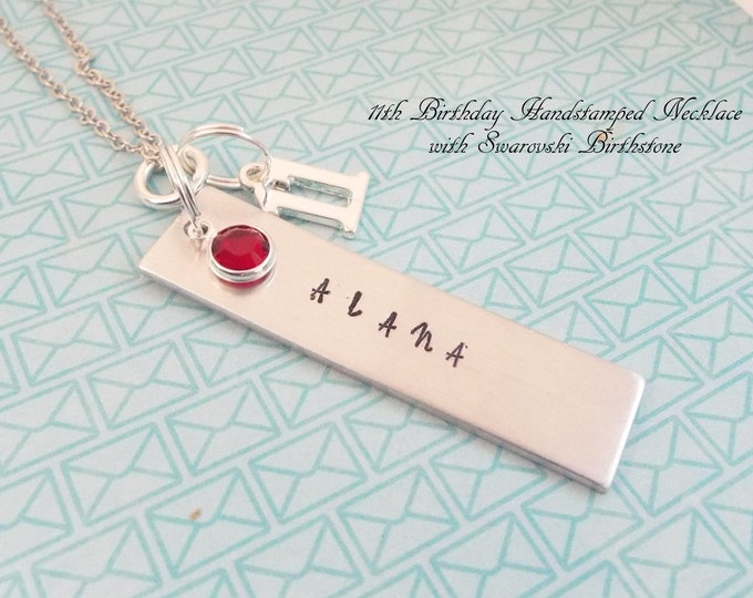 11th Birthday Gift for Girls, Name Necklace for 11 Year Old Girl, Personalized Gift, Birthstone Necklace, Hand Stamped Jewelry, Gift for Her