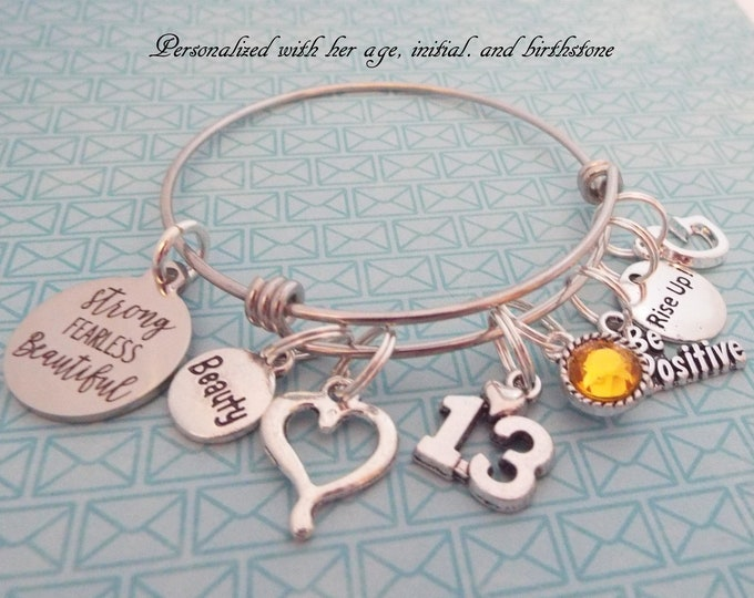 Girl's 13th Birthday, Personalized Bracelet, 13 Year Old,  Feminist Jewelry, Charm Bracelet, Gift for Her, Daughter Birthday, Custom
