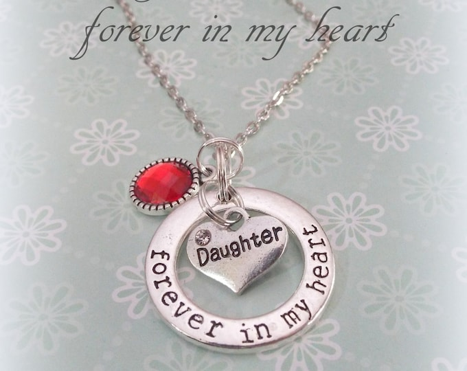 Daughter Necklace, In Memory of Daughter Personalized Jewelry, Birthstone Necklace in Daughter's Memory, Forever in My Heart Daughter