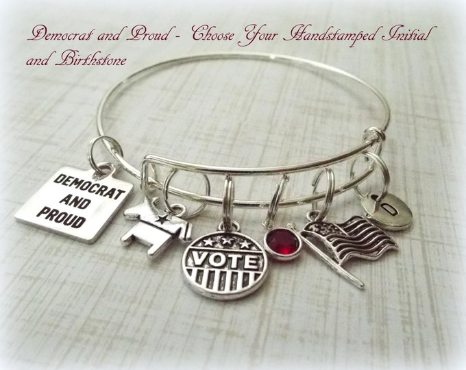 Election Day Charm Bracelet, Democratic and Proud, Personalized Gift, Gift Ideas for Her, Gift Ideas for Women, Vote Charm Bracelet