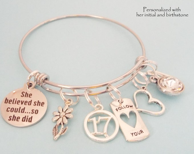 17th Birthday Gift Girl, Birthday Gift for Teenage Girl, Teenager Daughter Custom Charm Bracelet, Personalized Gift for Her, Niece Gift