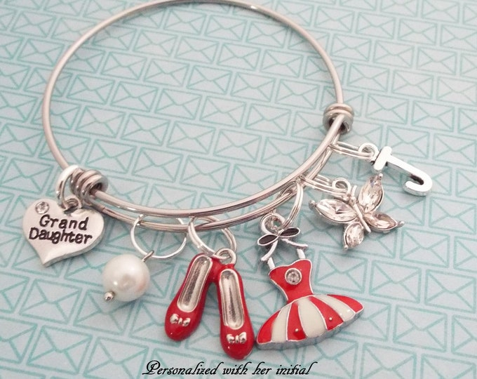 Granddaughter Gift, Ballet Dancer Charm Bracelet, Children's Jewelry, Young Girl Gift, Personalized Jewelry, Gift for Her, Teenager Gift