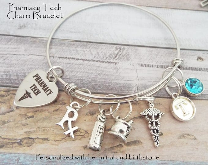 Pharmacy Tech Charm Bracelet, Graduation Gift for Pharmacy Techs, Personalized Gifts, Custom Jewelry, Gifts for Her, Gift for Pharmacy Tech