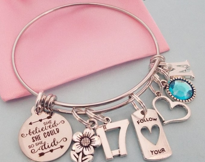 17th Birthday Gift Girl, Birthday Gift for Teenage Girl, Teenager Daughter Custom Charm Bracelet, Personalized Gift for Her, Niece Gift