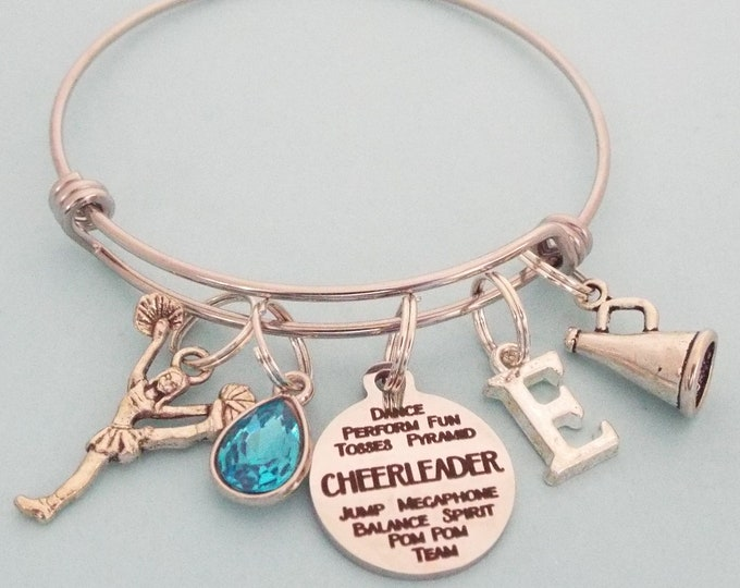 Cheerleader Personalized Charm Bracelet, Cheerleading Gift for Girl, Teenage Girl Custom Bracelet, Teenager Gift for Her, Daughter Gift Idea