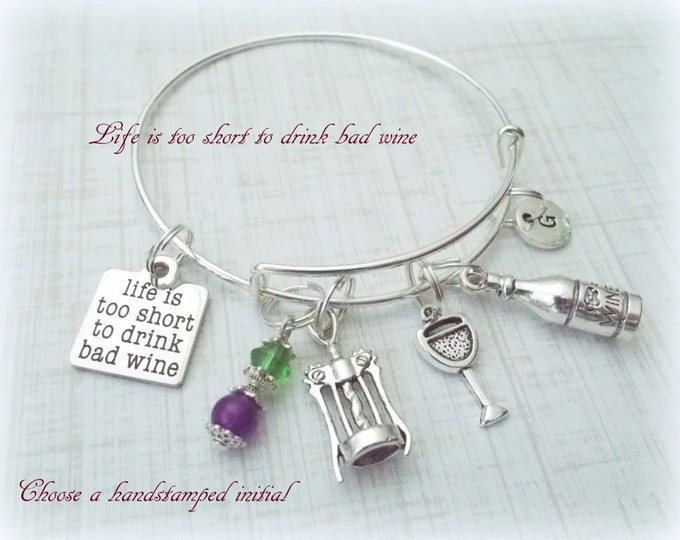 Wine Drinker Charm Bracelet, Best Friend Gift, Wine Lover Gift, Wine Lover Charm Bracelet, Personalized Gift, Personalized Jewelry