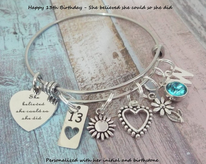 Girl's 13th Birthday Charm Bracelet, Gift for 13 Year Old Girl, 13th Girl Gift, Personalized Gift, Gift for Her, Gift for Girl, Birthday