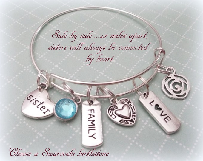 Gift for Sister, Sister Gift Ideas, Sister Charm Bracelet, Personalized Gift Ideas, Gift Idea for Sisters, Sister to Sister Gift
