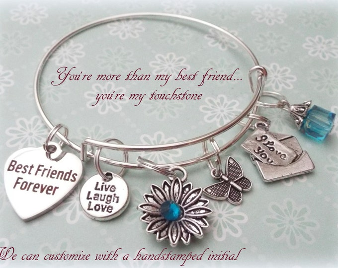 Best Friend Charm Bracelet, Gift for Best Friend, Birthday Gift for Friend, Best Friends Forever. Jewelry Gifts for Her, Personalized Gift