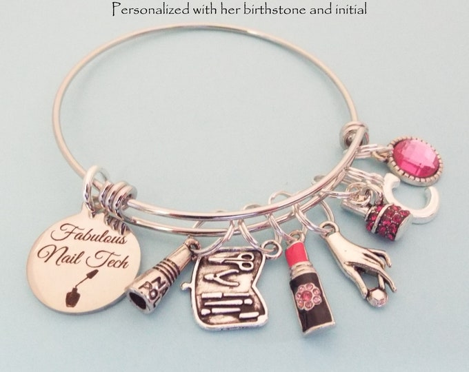 Nail Tech Gift, Nail Tech Charm Bracelet, Graduation for Her, Personalized Jewelry, Birthstone Jewelry, Initial Bracelet, Woman's Birthday