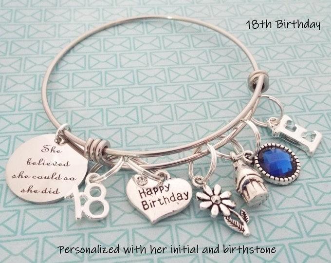 Granddaughter Girl Gift, Birthday Charm Bracelet for Granddaughter, Personalized Gift for Her, Grandmother Gift, 18th Birthday Gift Girl