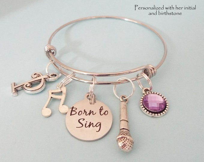 Gift for Singer, Love to Sing Charm Bracelet, Personalized Gift, Birthstone Jewelry, Daughter Gift, Choral Singing, Niece Bracelet