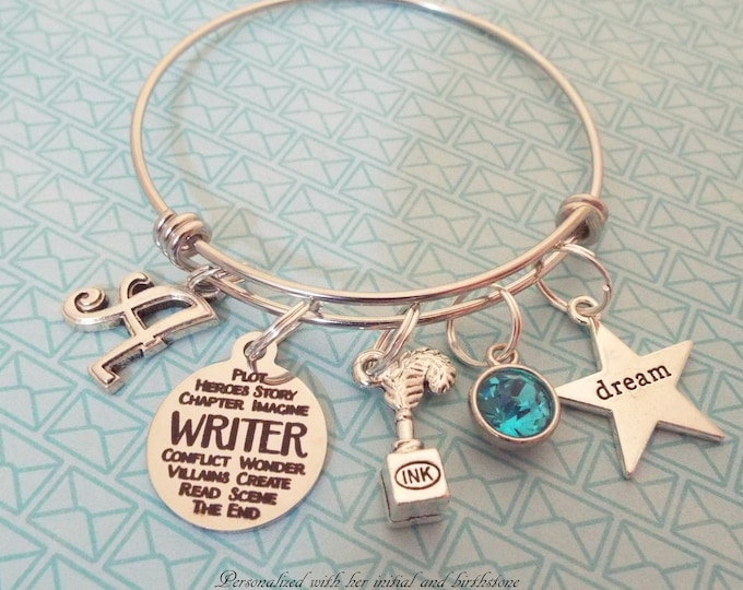 Personalized Writer Bracelet Gift, Birthstone Charm Bracelet, Gift for Her, Birthday for Girl, Initial Bracelet, Women's Jewelry, Girl Gift