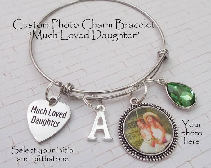 Gift for Daughter, Valentine Gift for Daughter, Personalized Gift, Gift for Her, Much Loved Daughter Charm Bracelet, Daughter Birthday Gift