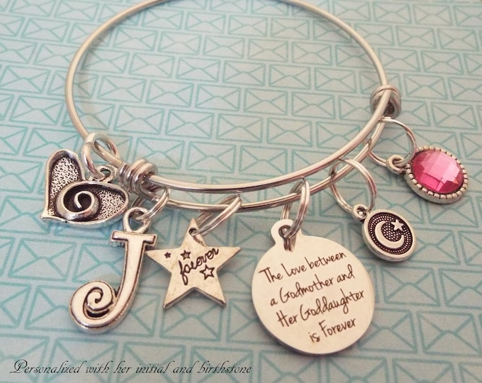 Godmother Gift, Goddaughter Birthday Charm Bracelet, Personalized Jewelry, Custom Birthstone, Initial Bracelet, Gift for Girl Birthday