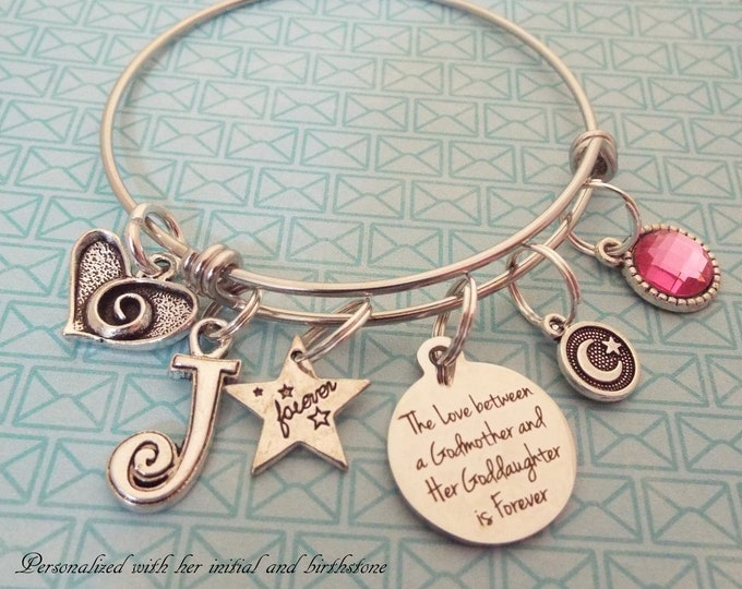 Godmother Gift, Goddaughter Birthday Charm Bracelet, Personalized Jewelry, Custom Birthstone, Initial Bracelet, Gift for Girl Birthday