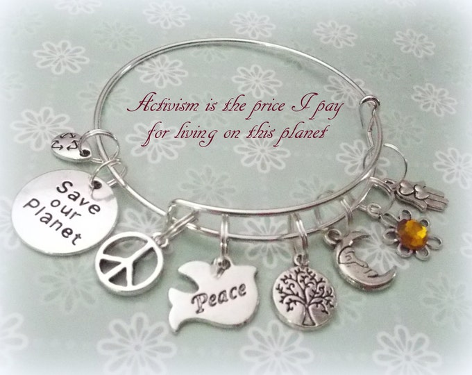 Ecology Charm Bracelet, Boho Jewelry, Hippie Jewelry, Save our Planet Charm Bracelet, Earth Day Gift, Peace Love Jewelry, Gift for Friend
