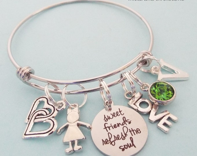 Best Friend Gift, Bestie Birthday Charm Bracelet, Birthstone Jewelry, Customized Gift, Personalized Gift for Women, Gift for Her, BFF