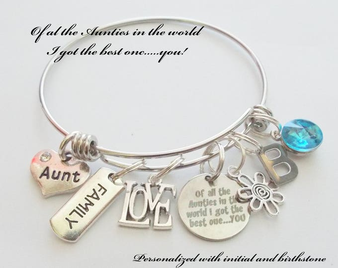 Aunt Gift, Aunt Charm Bracelet, Gift for Aunt, Niece to Aunt Gift, Personalized Gift for Aunt, Custom Jewelry Gift, Gift for Her