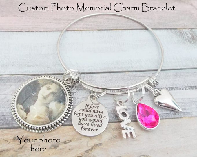 Memorial Bracelet, Sympathy Gift for Loss of Loved One, Custom Photo Memorial Charm Bracelet, Grief and Mourning Gift in Memory of Loved One