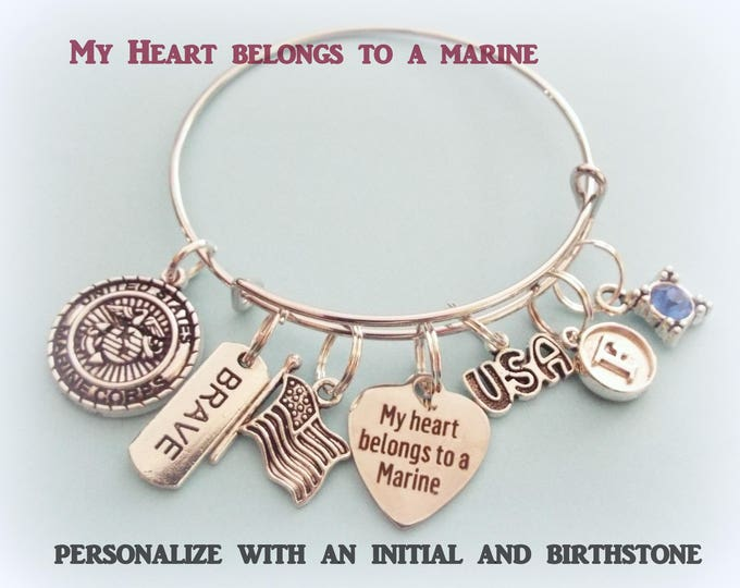 Marine Wife Charm Bracelet, Gift for Marine Girlfriend, Birthstone Jewelry, Personalized Gift, Initial Jewelry, Gift for Her, Patriotic Gift