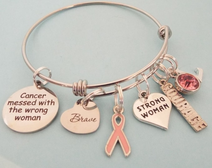 Breast Cancer Survivor Jewelry, Cancer Survivor Charm Bracelet, Gift for Breast Cancer Survivor, Personalized for Her, Gift for Woman
