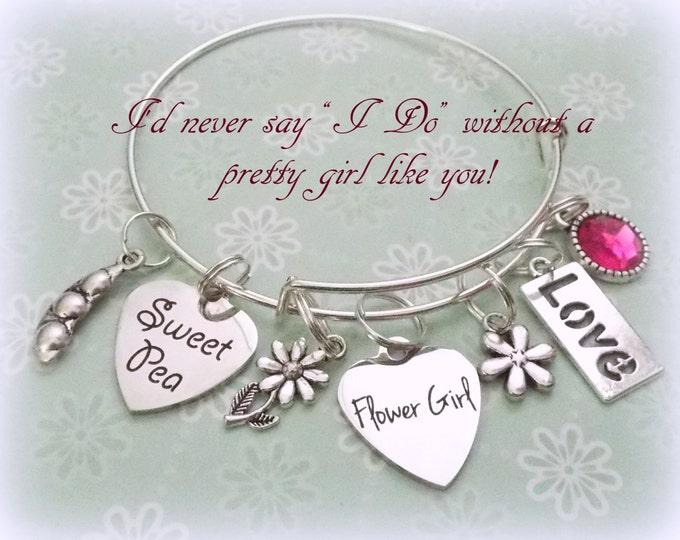 Flower Girl Gift, Flower Girl Charm Bracelet, Gift for Flower Girl, Wedding Gift for Flower Girl, Wedding Jewelry, Bridal Gift, Wedding Gift