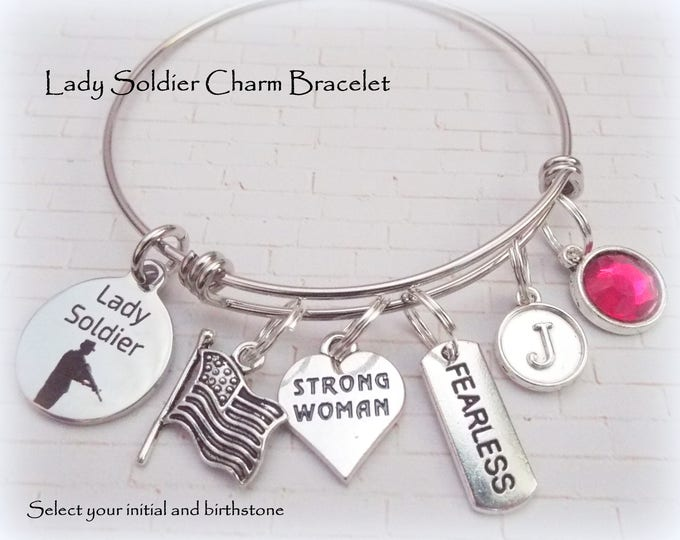 Gift for Soldier, Personalized Charm Bracelet, Patriotic Jewelry, Gift for Woman Soldier, Birthday for Her, Birthstone Bracelet, Girl Gift