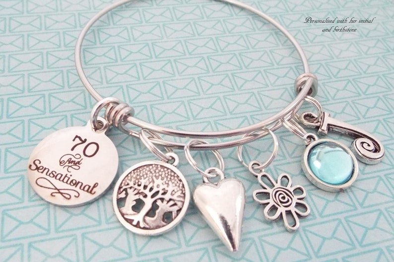 Happy 70th Birthday Charm Bracelet Gift For Grandmother Personalized 70 Year Old Woman