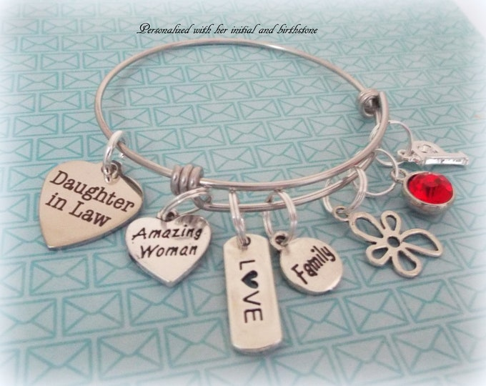 Daughter in Law Gift, Personalized Gift, Wedding Jewelry, Daughter in Law Charm Bracelet, Custom Jewelry, Gift for Her, Silver Bracelet