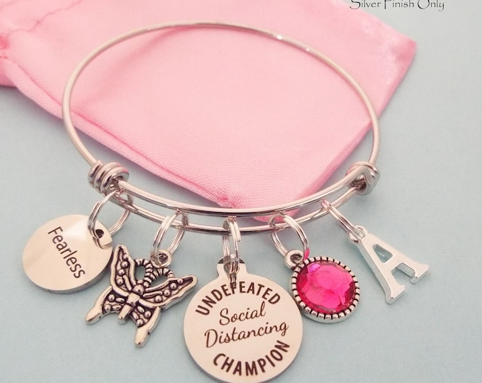 Social Distancing Charm Bracelet, Birthday Quarantine Gift for Girl, Personalized Jewelry for Lockdown Gift, Custom Jewelry, Gift for Her