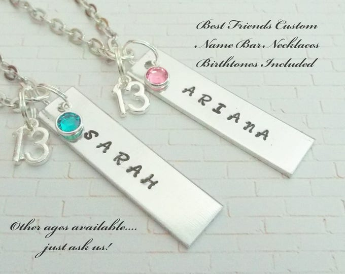 Best Friend Gift Girl, Gift for 13 Year Old Friends, Custom Name Bar Friend Necklaces, Name Bar Necklaces, 13th Birthday Gift for Girlfriend