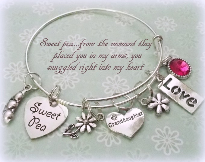 Granddaughter Charm Bracelet, Gift for Her, Birthday for Her, Grandmother Gift, Personalized Gift, Custom Jewelry, Girl Gift, Silver Jewelry