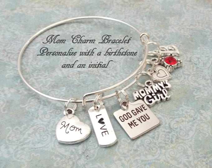 Gift for Mom's Birthday, Birthday Gift for Mother, Mother Charm Bracelet, Personalized Mom Gift, Daughter to Mother Gift, Gift for Her