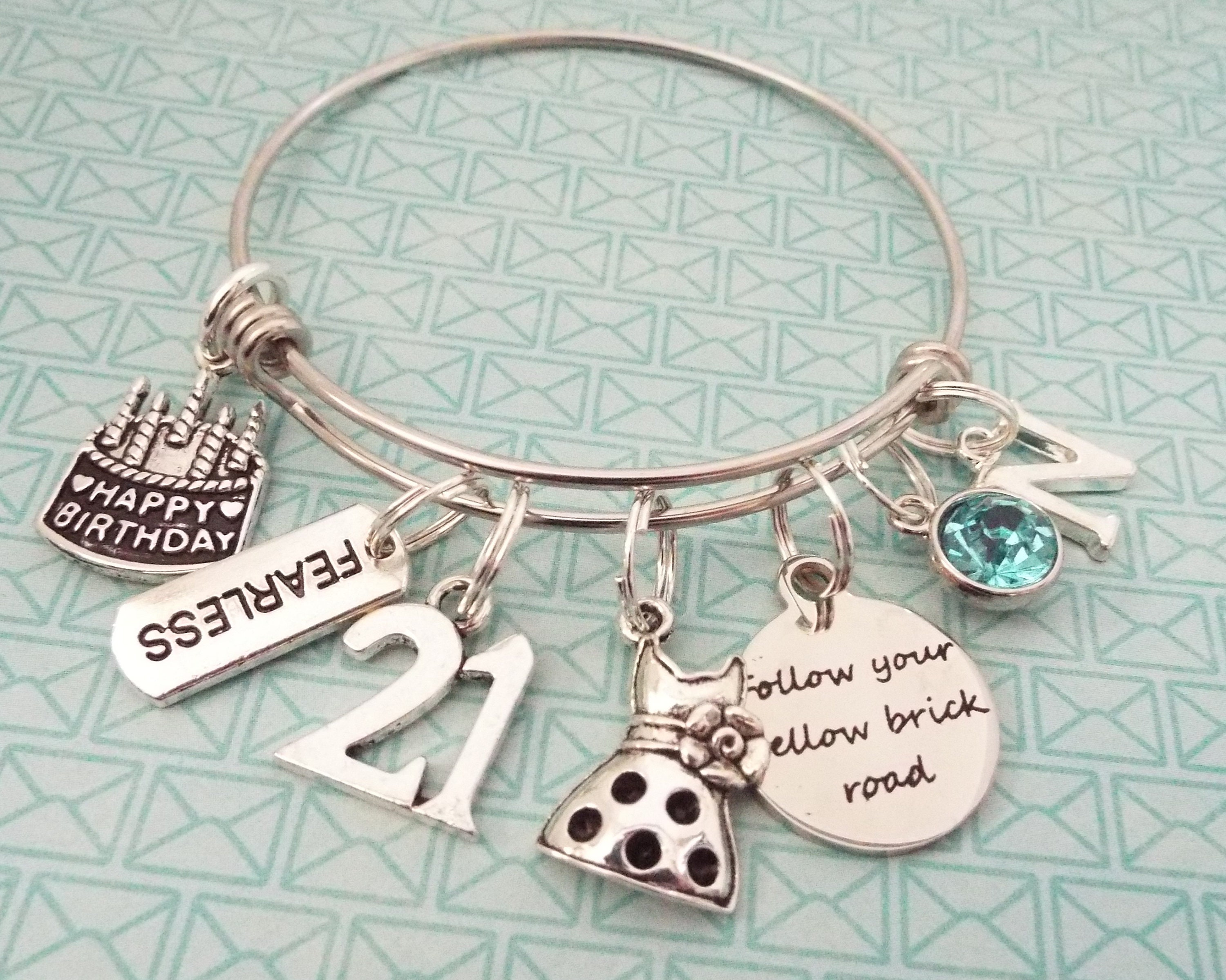 Personalized 21st Birthday Gifts For Her Custom Expandable Charm Bracelet With Birthstone