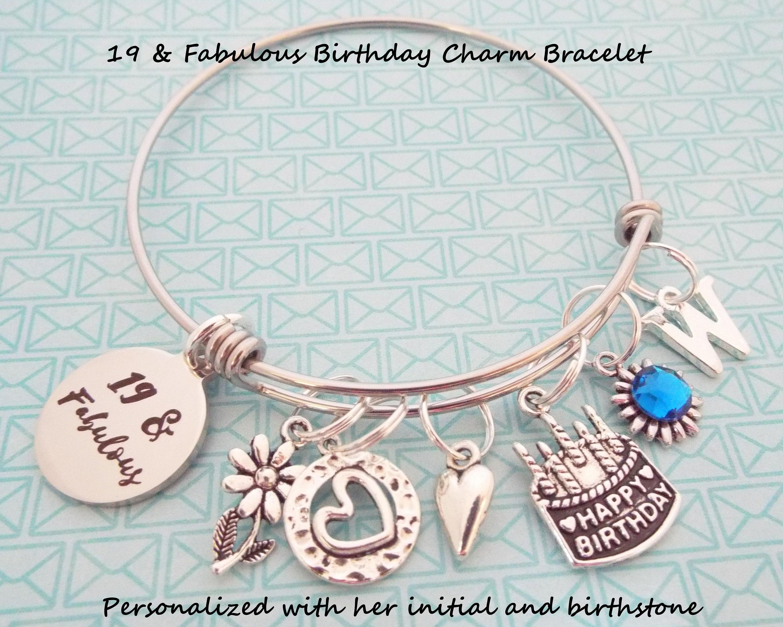 Girls 19th Birthday Gift Charm Bracelet For