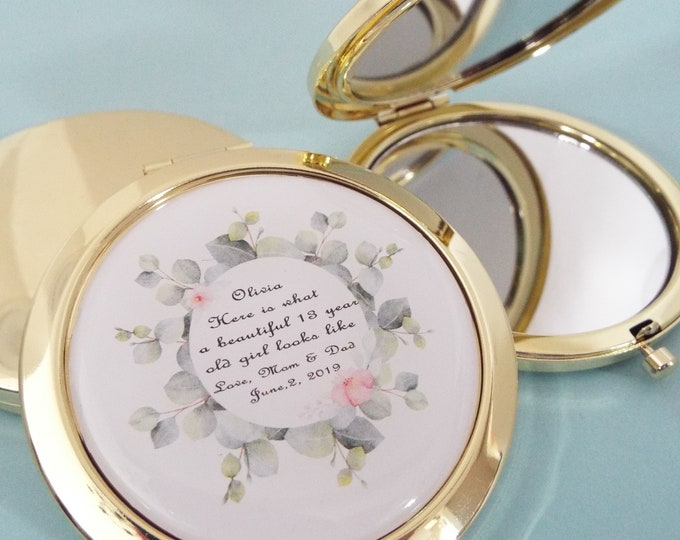 13th Birthday Daughter Gift, Personalized Gift for Teenage Girl, Daughter Turning 13, Custom Compact Mirror, Customized Gift for Her