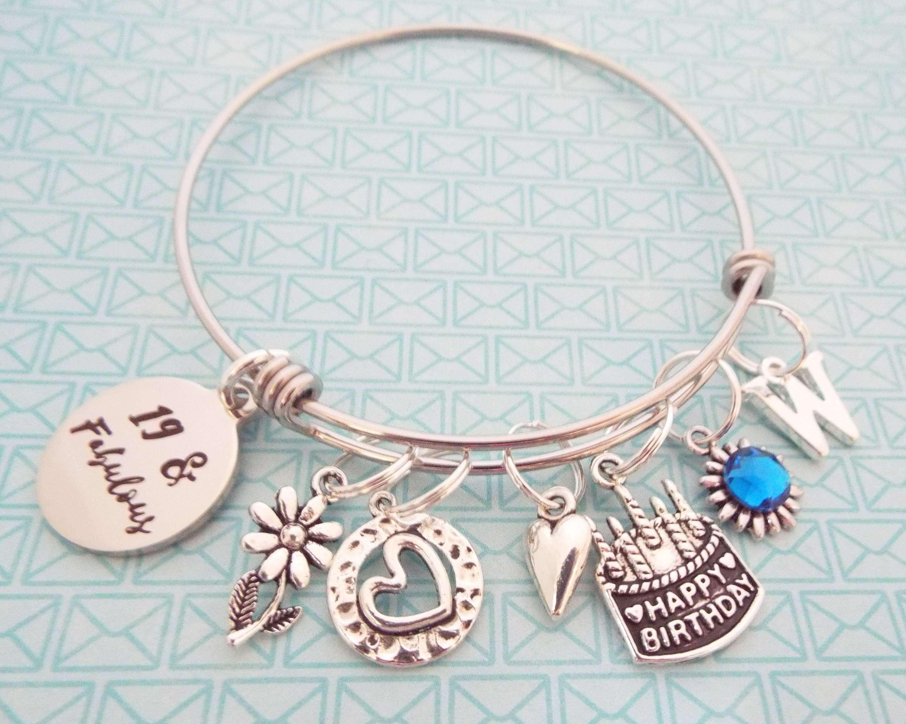 Girls 19th Birthday Gift Charm Bracelet For Teenage Girl Personalized Her 19 Year Old