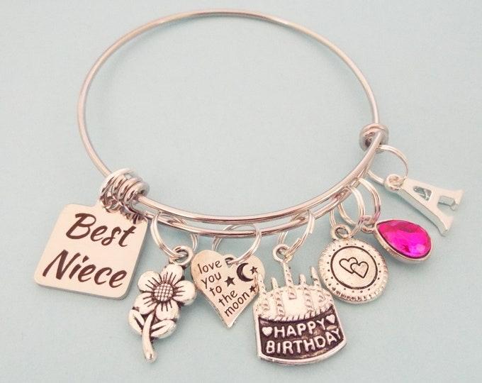 Aunt to Niece Gift, Personalized Charm Bracelet for Niece Birthday, Birthstone Jewelry, Initial Bracelet, Customized Jewelry, Gift for Her